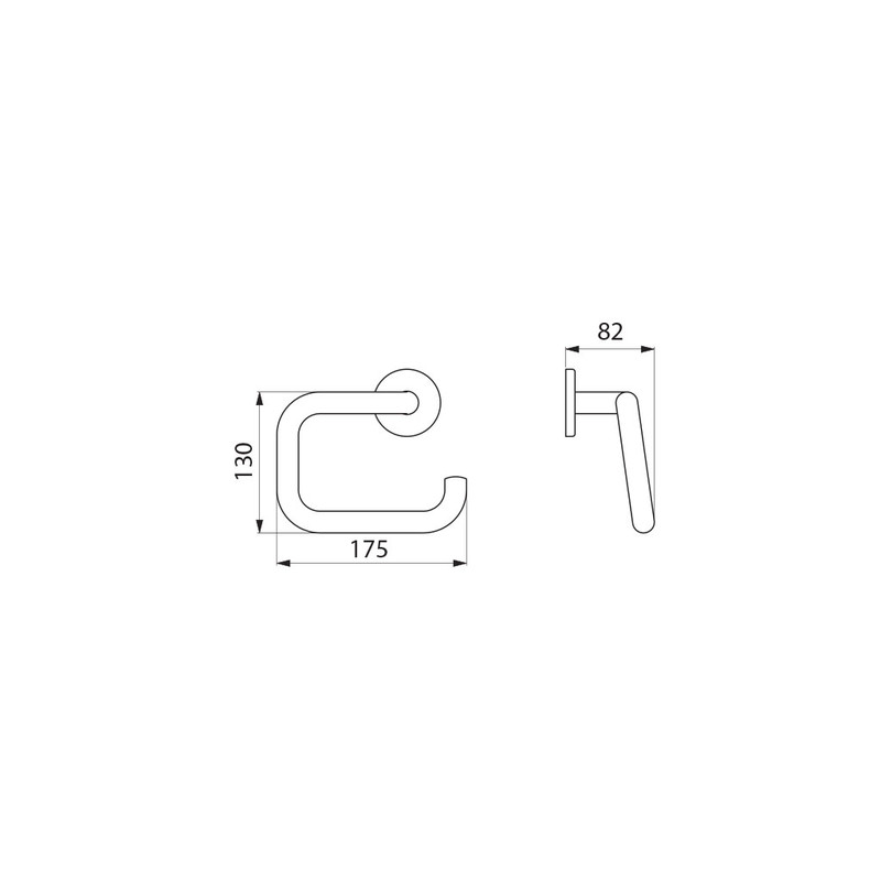 U-shaped toilet roll holder with spindle