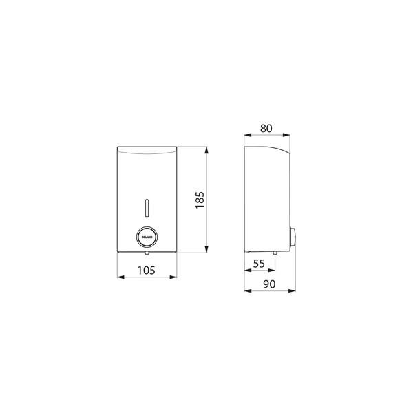 Wall-mounted liquid soap dispenser –– 0.5 litres